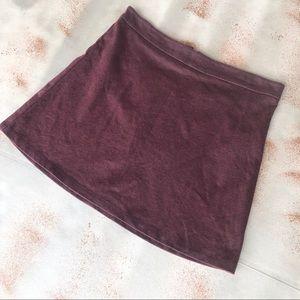 Forever 21 Burgundy Skater Knit Contrast Zip Skirt